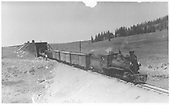 RGS #40 with freight standing at Lizard Head after exiting snowshed.<br /> RGS  Lizard Head, CO  Taken by Virden, Walter - 6/20/1942