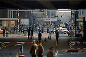 Berlin, Germany<br /> November 10, 1989<br /> <br /> Looking into West Berlin at the Check Point Charlie border crossing from East Berlin. The East German government lifted travel and emigration restrictions to the West the night before.