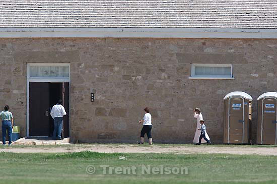San Angelo - FLDS women and children from the YFZ Ranch are brought to temporary shelter facilities at Fort Concho by Texas Child Protective Services, Sunday, April 6, 2008.