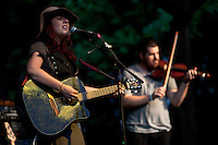 Singer/songwriter Kristen Leigh (left) and David Wimbish perform on June 22, 2012, the second evening of the four-day Wild Goose Festival, held at the Shakori Hills Community Arts Center in Pittsboro, NC.