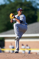 Mahoning Valley Scrappers pitcher Johan Puello (43) delivers a pitch during the first game of a doubleheader against the Batavia Muckdogs on July 2, 2015 at Dwyer Stadium in Batavia, New York.  Batavia defeated Mahoning Valley 4-1.  (Mike Janes/Four Seam Images)