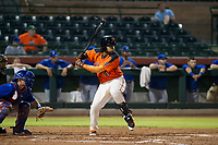 AZL Giants first baseman Nathanael Javier (47) at bat during Game Three of the Arizona League Championship Series against the AZL Cubs on September 7, 2017 at Scottsdale Stadium in Scottsdale, Arizona. AZL Cubs defeated the AZL Giants 13-3 to win the series two games to one. (Zachary Lucy/Four Seam Images)