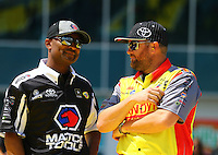 Mar 20, 2016; Gainesville, FL, USA; NHRA top fuel driver Antron Brown (left) and Shawn Langdon during the Gatornationals at Auto Plus Raceway at Gainesville. Mandatory Credit: Mark J. Rebilas-USA TODAY Sports