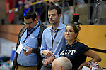 GER - Luebeck, Germany, February 06: Before the 1. Bundesliga Damen indoor hockey semi final match at the Final 4 between Rot-Weiss Koeln (white) and Mannheimer HC (blue) on February 6, 2016 at Hansehalle Luebeck in Luebeck, Germany. (Photo by Dirk Markgraf / www.265-images.com) *** Local caption *** Jan Fischer (DHB)