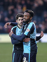 Max Kretzschmar of Wycombe Wanderers & Gozie Ugwu (right) of Wycombe Wanderers  at the final whistle during the Sky Bet League 2 match between Wycombe Wanderers and Bristol Rovers at Adams Park, High Wycombe, England on 27 February 2016. Photo by Andrew Rowland.