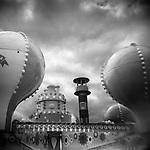 Monochrome Holga carnival image of balloon ride