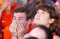 San Francisco, CA - Sunday, June 29, 2014: Dutch fans at the SOMA StrEat Food Park watch the Netherlands vs. Mexico round of 16 World Cup match.