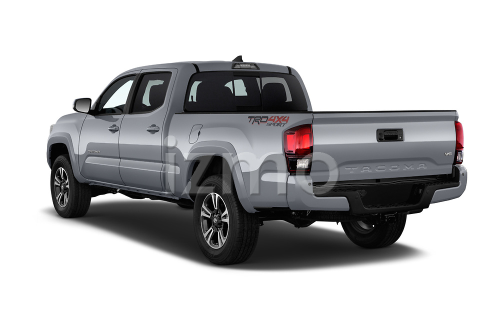 Car pictures of rear three quarter view of a 2018 Toyota Tacoma TRD Sport Double Cab 4 Door Pick Up angular rear