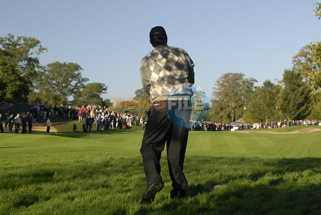 Straffan Co Kildare Ireland. K Club Ryder Cup..American Ryder cup team member Phil Mickelson plays his 2nd shot out of the rough on the 7th hole on the  opening fourball session on the 1st day of the 2006 Ryder Cup, at the K Club in Straffan, Co Kildare, Ireland, 22 September 2006..Photo: Eoin Clarke/ Newsfile