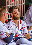 14 April 2018: Washington Nationals outfielder Bryce Harper chats in the dugout during a game against the Colorado Rockies at Nationals Park in Washington, DC. The Nationals rallied to defeat the Rockies 6-2 in the 3rd game of their 4-game series. Mandatory Credit: Ed Wolfstein Photo *** RAW (NEF) Image File Available ***