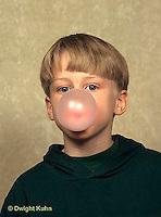 BH22-037x  Bubbles - boy blowing bubbles with bubble gum