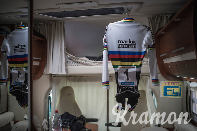 Eli Yserbyt's (BEL/U23/Marlux-Napoleon Games) rainbow jersey ready for the race<br /> <br /> 2016 CX UCI World Cup Zeven (DEU)