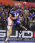 12.01.2013 Granollers, Spain. IHF men's world championship, prelimanary round. Picture show Luc Abalo  in action during game between France vs Tunisia at Palau d'esports de Granollers