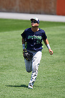 Vermont Lake Monsters right fielder Jhonny Rodriguez (17) during a game against the Auburn Doubledays on July 13, 2016 at Falcon Park in Auburn, New York.  Auburn defeated Vermont 8-4.  (Mike Janes/Four Seam Images)