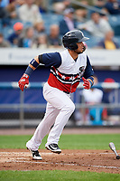Syracuse Chiefs second baseman Bengie Gonzalez (3) runs to first base during a game against the Scranton/Wilkes-Barre RailRiders on June 14, 2018 at NBT Bank Stadium in Syracuse, New York.  Scranton/Wilkes-Barre defeated Syracuse 9-5.  (Mike Janes/Four Seam Images)