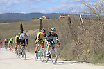 The peloton including Rafal Majka (POL) Bora-Hansgrohe on sector 2 Bagnaia during Strade Bianche 2019 running 184km from Siena to Siena, held over the white gravel roads of Tuscany, Italy. 9th March 2019.<br /> Picture: Seamus Yore | Cyclefile<br /> <br /> <br /> All photos usage must carry mandatory copyright credit (© Cyclefile | Seamus Yore)