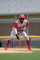 Williamsport Crosscutters Johan Rojas (13) leads off first base during a NY-Penn League game against the Batavia Muckdogs on August 27, 2019 at Dwyer Stadium in Batavia, New York.  Williamsport defeated Batavia 11-4.  (Mike Janes/Four Seam Images)