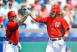 10 March 2012: Washington Nationals' outfielder Jayson Werth comes home to score against the New York Mets at Space Coast Stadium in Viera, Florida. The Nationals defeated the Mets 8-2 in Grapefruit League play. Mandatory Credit: Ed Wolfstein Photo