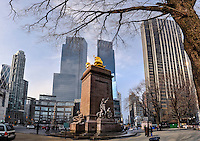 US, New York City. USS Maine Monument at Columbus Circle. Corner of Central Park, Manhattan. Stitched panorama.