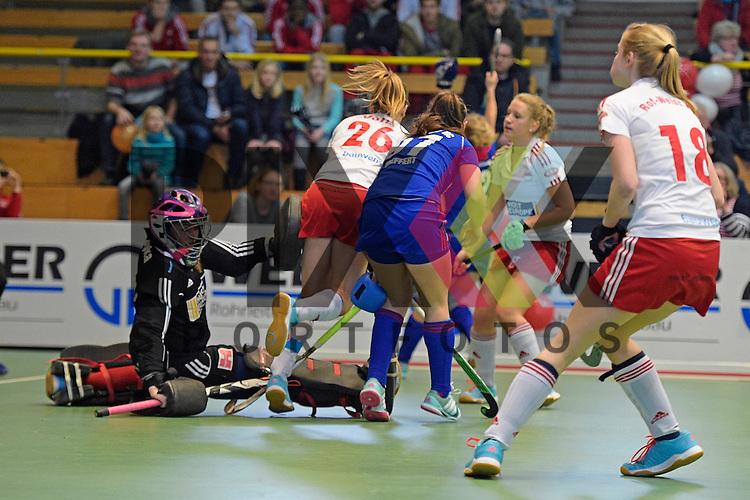 GER - Luebeck, Germany, February 06: During the 1. Bundesliga Damen indoor hockey semi final match at the Final 4 between Rot-Weiss Koeln (white) and Mannheimer HC (blue) on February 6, 2016 at Hansehalle Luebeck in Luebeck, Germany. Final score 1-2 (HT 0-2).   (L-R) Julia Ciupka #91 of Rot-Weiss Koeln, Janina Volk #26 of Rot-Weiss Koeln, Julia Meffert #97 of Mannheimer HC<br /> <br /> Foto &copy; PIX-Sportfotos *** Foto ist honorarpflichtig! *** Auf Anfrage in hoeherer Qualitaet/Aufloesung. Belegexemplar erbeten. Veroeffentlichung ausschliesslich fuer journalistisch-publizistische Zwecke. For editorial use only.