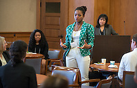 Tiffany Odeka '16. Occidental and Scripps College students participate on the final day of The Fullbridge Program's Internship Edge on Jan. 17, 2014 in Dumke Commons of Swan Hall. Students presented their team projects and talked with professionals. The program was hosted by Occidental College in conjunction with Scripps College. 20 students were engaged in the intensive, professionalized, skill-building program which focused on careers in finance, business and entrepreneurship. (Photo by Marc Campos, Occidental College Photographer)