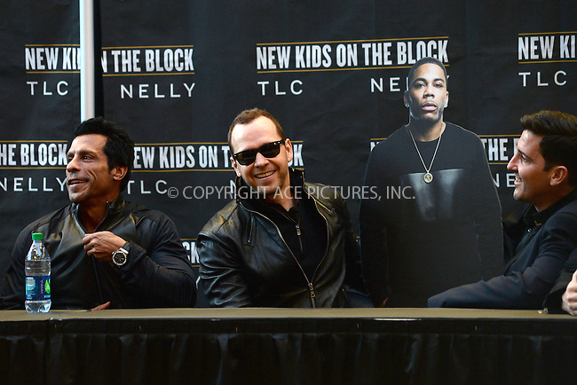 WWW.ACEPIXS.COM<br /> January 20, 2015 New York City<br /> <br /> Danny Wood, Donnie Wahlberg, and Jonathan Knight with a Nelly cut out attending a New Kids on The Block Press Conference at Madison Square Garden on January 20, 2015 in New York City. <br /> <br /> By Line: Kristin Callahan/ACE Pictures<br /> ACE Pictures, Inc.<br /> tel: 646 769 0430<br /> Email: info@acepixs.com<br /> www.acepixs.com