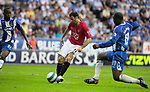 Manchester United's Ryan Giggs scores his side second goal during the Premier League match at The JJB Stadium, Wigan. Picture date 11th May 2008. Picture credit should read: Simon Bellis/Sportimage