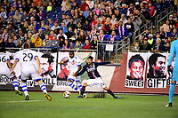 September 9, 2017 - Foxborough, Mass: New England Revolution midfielder Lee Nguyen (24) battles Montreal Impact defender Chris Duvall (18) for the ball during the MLS game between the Montreal Impact and the New England Revolution held at Gillette Stadium in Foxborough Massachusetts. Revolution defeat Impact 1-0. Eric Canha/CSM