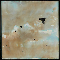 Encaustic painting with photo transfer of crows in cloudy sky by Florida artist Jeff League.