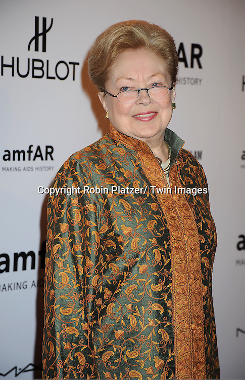 Dr Mathilde Krim arrives at the amfAR New York Gala to kick off Fashion Week on February 8, 2012 at Cipriani Wall Street in New York City.