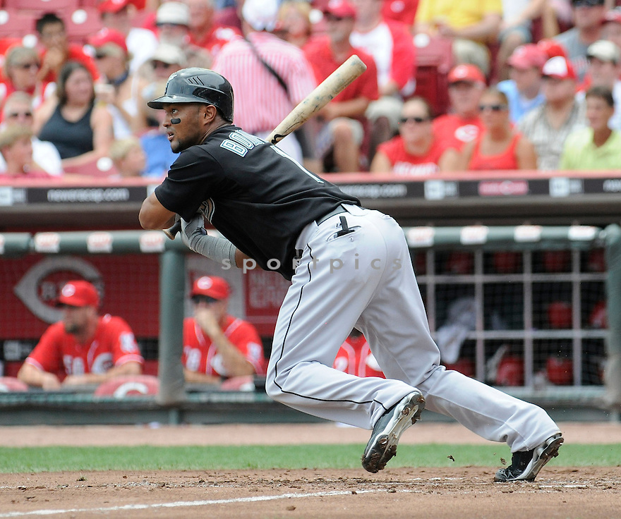EMILIO BONIFACIO, of  the Florida Marlins, in action during the Marlins game against the Cincinnati Reds at Great American Ball Park in Cincinnati, Ohio  on August 15, 2010.   Reds won the game 2-0...
