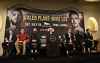 BEVERLY HILLS - MAY 22: (L-R) Bill Wanger, Richie Plant, Caleb Plant, Jimmy Lennon Jr., Mike Lee, Jamal Abdullah, and Michael Borao attend a press conference in Beverly Hills for the Caleb Plant v Mike Lee Super Middleweight Championship fight on Premier Boxing Champions on FOX Sports Pay-Per-View event on Saturday July 20 in Las Vegas. (Photo by Frank Micelotta/Fox Sports/PictureGroup)