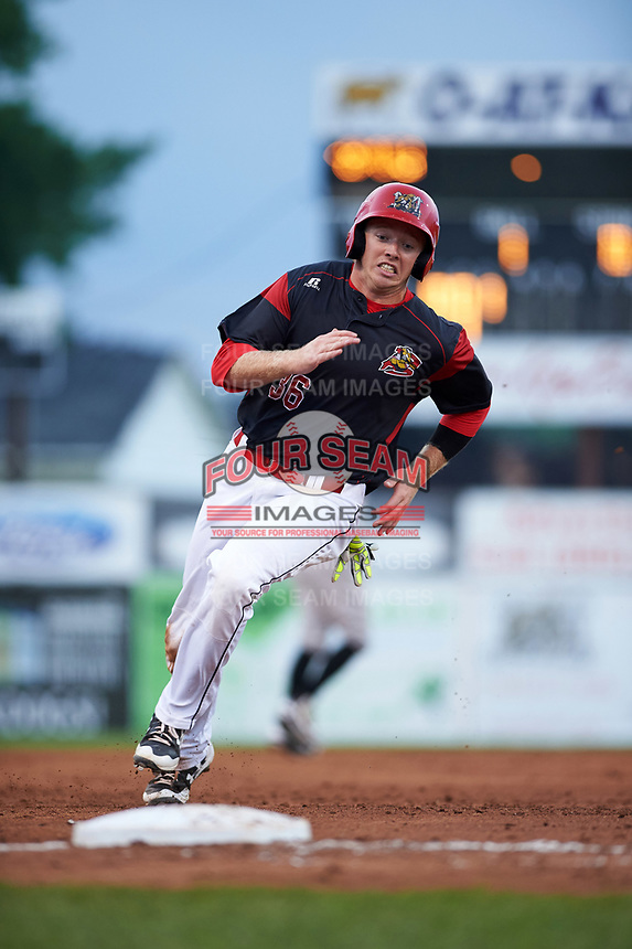 Batavia Muckdogs first baseman Ben Fisher (36) running the bases during a game against the Tri-City ValleyCats on July 14, 2017 at Dwyer Stadium in Batavia, New York.  Batavia defeated Tri-City 8-4.  (Mike Janes/Four Seam Images)
