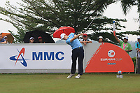 Matthew Fitzpatrick (Europe) on the 5th tee during the Saturday Foursomes of the Eurasia Cup at Glenmarie Golf and Country Club on the 13th January 2018.<br /> Picture:  Thos Caffrey / www.golffile.ie
