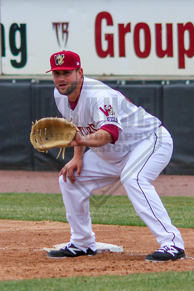 Wisconsin Timber Rattlers first baseman Ronnie Gideon (25) during a Midwest League game against the Burlington Bees on April 11th, 2017 at Fox Cities Stadium in Appleton, Wisconsin.  Wisconsin defeated Burlington 4-3. (Brad Krause/Krause Sports Photography)