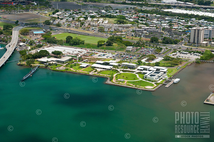 Aerial view ofthe Arizona Memorial at Pearl Harbor