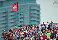 21 August 2010: New York Red Bull fans show their support during a game between the New York Red Bulls and Toronto FC at BMO Field in Toronto..The New York Red Bulls won 4-1.