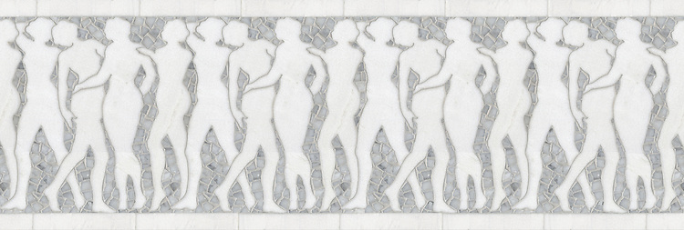 """12 5/8"""" Muses border, a hand-cut stone mosaic, shown in polished Carrara and Thassos."""