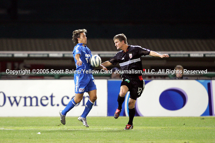 21 May 2005: Kansas City's Josh Wolff (left) chests the ball away from DC United's Bobby Boswell. DC United defeated the Kansas City Wizards 3-2 at RFK Stadium in Washington, DC in a regular season Major League Soccer game. .