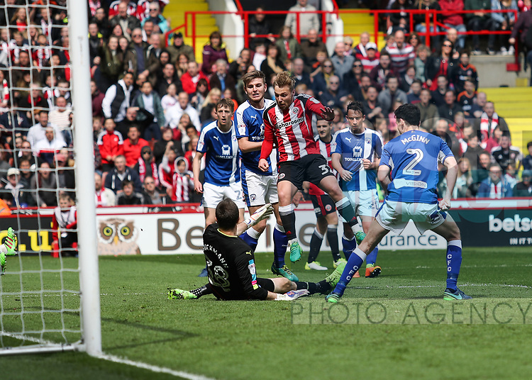 Harry Chapman of Sheffield United striking the ball towards goal during the English League One match at Bramall Lane Stadium, Sheffield. Picture date: April 30th, 2017. Pic credit should read: Jamie Tyerman/Sportimage