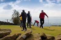 Five men playing golf at Longridge Golf Course, Lancashire..Copyright..John Eveson,.Dinkling Green Farm,.Whitewell,.Clitheroe,.Lancashire..BB7 3BN.Tel. 01995 61280.Mobile 07973 482705.j.r.eveson@btinternet.com.www.johneveson.com