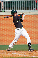 Brett Lang (6) of the Charlotte 49ers follows through on his swing against the Canisius Golden Griffins at Hayes Stadium on February 23, 2014 in Charlotte, North Carolina.  The Golden Griffins defeated the 49ers 10-1.  (Brian Westerholt/Four Seam Images)
