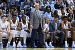 CHAPEL HILL, NC - DECEMBER 03: UNC head coach Roy Williams. The University of North Carolina Tar Heels hosted the Tulane University Green Wave on December 3, 2017 at Dean E. Smith Center in Chapel Hill, NC in a Division I men's college basketball game. UNC won the game 97-73.