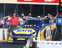 Jul 29, 2016; Sonoma, CA, USA; Team owner Don Schumacher (left) looks on as NHRA funny car driver Ron Capps races during qualifying for the Sonoma Nationals at Sonoma Raceway. Mandatory Credit: Mark J. Rebilas-USA TODAY Sports