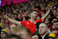 A Wales supporter cheers his team on during the FIFA World Cup Qualifier Group D match between Wales and Republic of Ireland at The Cardiff City Stadium, Wales, UK. Monday 09 October 2017