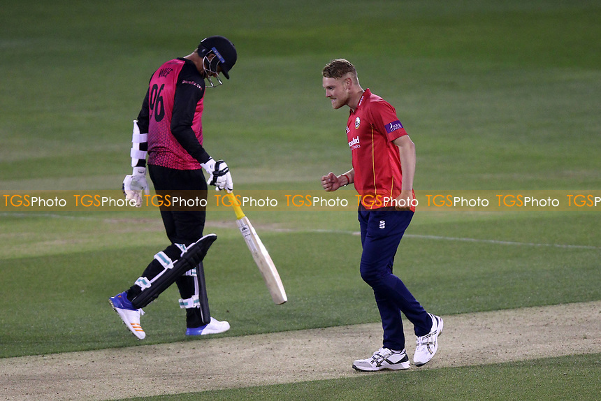 Jamie Porter of Essex celebrates taking the wicket of Laurie Evans during Essex Eagles vs Sussex Sharks, Royal London One-Day Cup Cricket at The Cloudfm County Ground on 10th May 2017