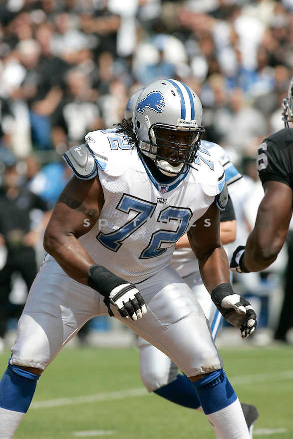 GEORGE FOSTER, of the  Detroit Lions , during the Lions game against the Oakland Raiders on September 9, 2007.  The Oakland Raiders beat the Detroit Lions 37-10....