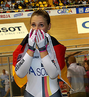 CALI – COLOMBIA – 01-03-2014: Kristina Vogel de Alemania celebra la victoria en la prueba Women´s Sprint Finals, en el Velodromo Alcides Nieto Patiño, sede del Campeonato Mundial UCI de Ciclismo Pista 2014. / Kristina Vogel of Alemania celebrates the victory in the test Women´s Sprint Finals in Alcides Nieto Patiño Velodrome, home of the 2014 UCI Track Cycling World Championships. Photo: VizzorImage / Luis Ramirez / Staff.