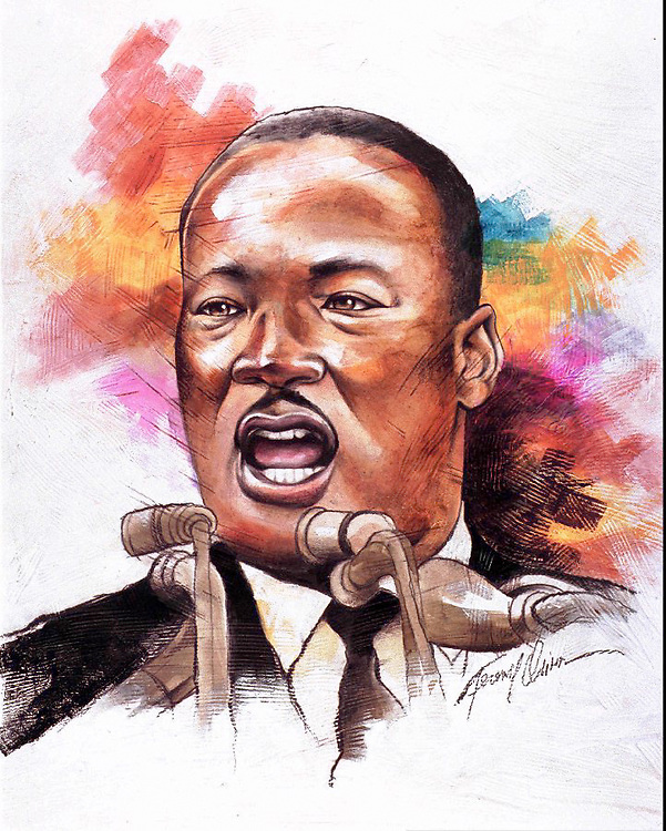 Size as needed, Terence Oliver color illustration of Dr. Martin Luther King. The Akron Beacon-Journal, 1995. .CATEGORY: ILLUSTRATION.SUBJECT: Martin Luther King illus. 1.ARTIST: Terence Oliver.ORIGIN: Akron Beacon Journal.TYPE: EPS JPEG.SIZE: As needed.ENTERED: 1/10/95.REVISED:.STORY SLUG: Stand-alone. .illustration, portrait, holiday, feature, features, King, Martin, Luther, Dr., civil, rights, African, American, black, Beacon, Journal, Oliver, 1995, at-risk, risk, black, African-American