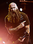 Chris Kael of Five Finger Death Punch performs during the Trespass America Festival at Jacobs Pavilion at Nautica in Cleveland, Ohio.